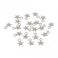 Kovinski obeski zvezdice platinaste barve 20 kosov