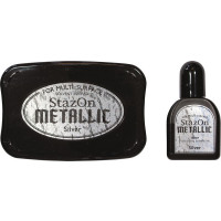 Blazinica za štampiljke StazOn Metallic - srebrna, 1 kos