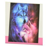 Slikanje s kristalčki Dva volka 30x40cm