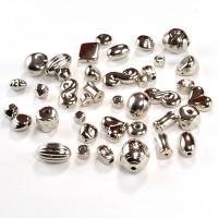 Perle plastične kovinski izgled miks oblik 50g