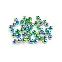 Perle plastične kovinski izgled okrogle mavrične 12mm 40g