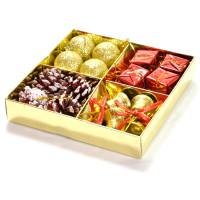 Set za novoletno dekoracijo zlato rdeč 16 kosov