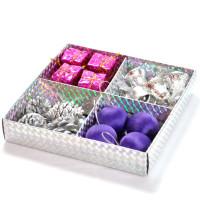 Set za novoletno dekoracijo srebrno vijoličen