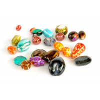 Perle akrilne mix 16, različnih oblik in barv, 50g