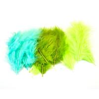 Barvno perje 20 kosov Zeleni miks