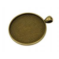 Okrogel medaljon 35 mm barva starega zlata 1 kos