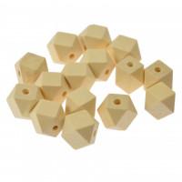 Perle večkotne lesene, 15 x 15 x 15 mm, 15 kos