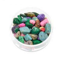 Perle poldragi kamni - lomljenci neprosojni barvani, miks, 18g