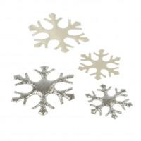 Okraski snežinke, srebrno-bele, 4 kos