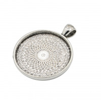 Okrogel medaljon 30 mm, platinaste barve, 1 kos