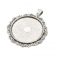 Okrogel medaljon 34 mm, platinaste barve, 1 kos
