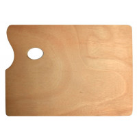 Paleta za mešanje barv - lesena ravna velika