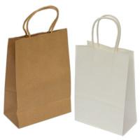 Papirnata darilna vrečka bela/naravna 18x8x21 cm - 1 kos
