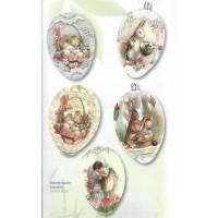"""Skrčljiva folija za velikonočno dekoracijo jajc - """"Zajčki in ptički,"""" 5 kosov"""